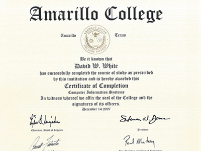 Certificate Computer Information Systems